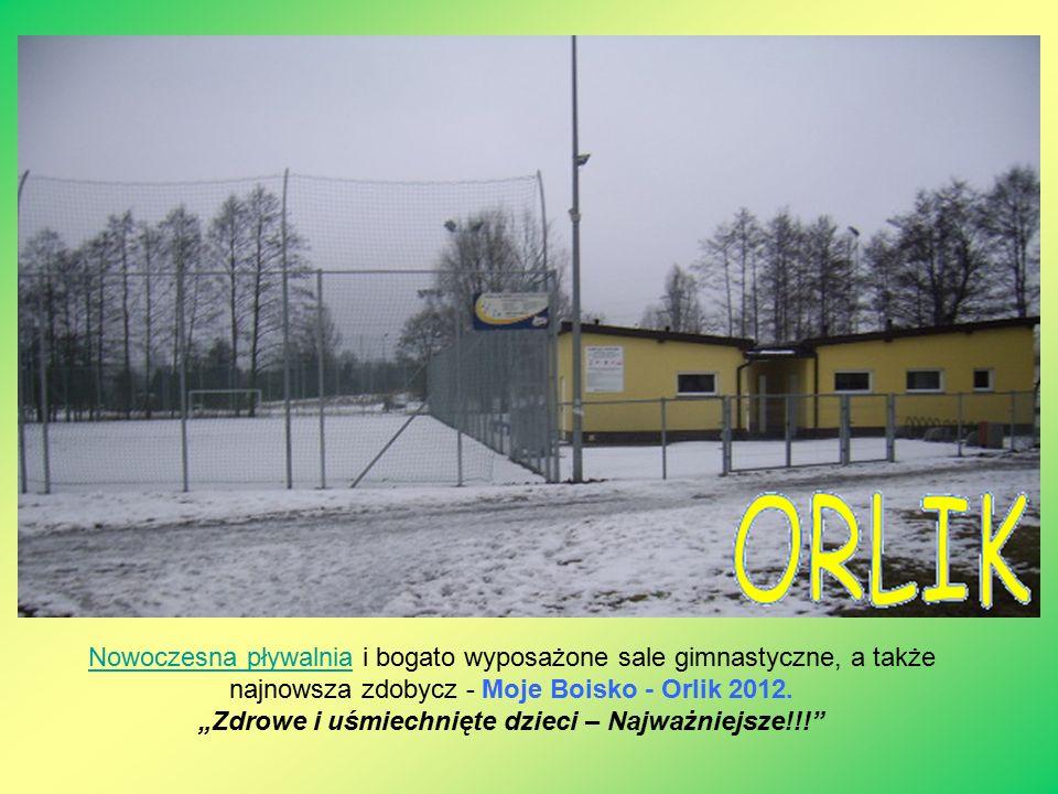 Nowoczesna pływalniaNowoczesna pływalnia i bogato wyposażone sale gimnastyczne, a także najnowsza zdobycz - Moje Boisko - Orlik 2012.
