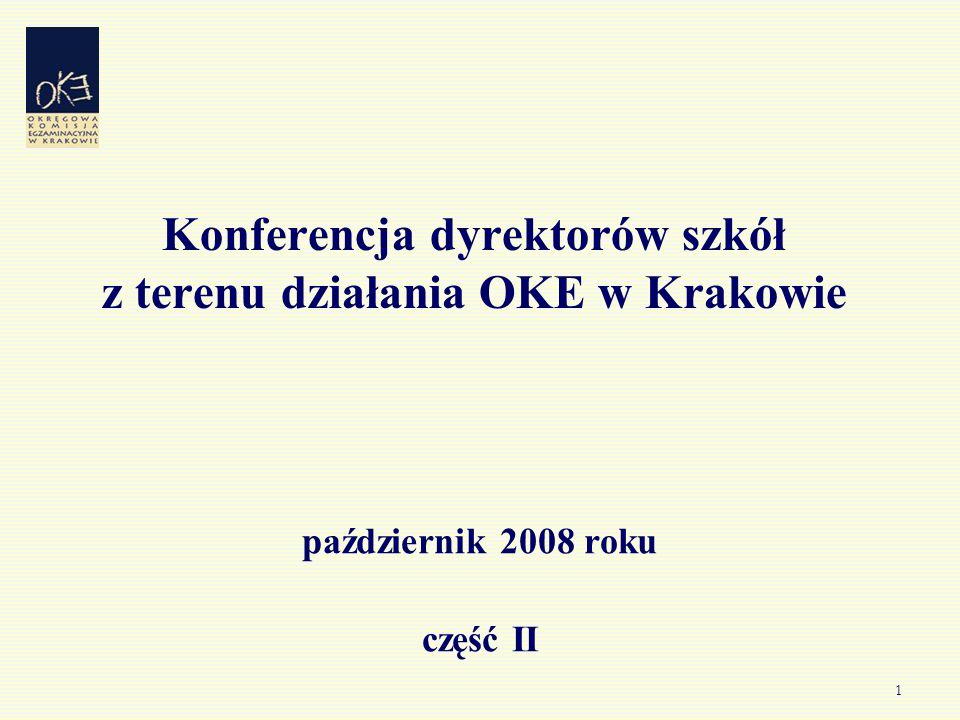 1 Konferencja dyrektorów szkół z terenu działania OKE w Krakowie październik 2008 roku część II