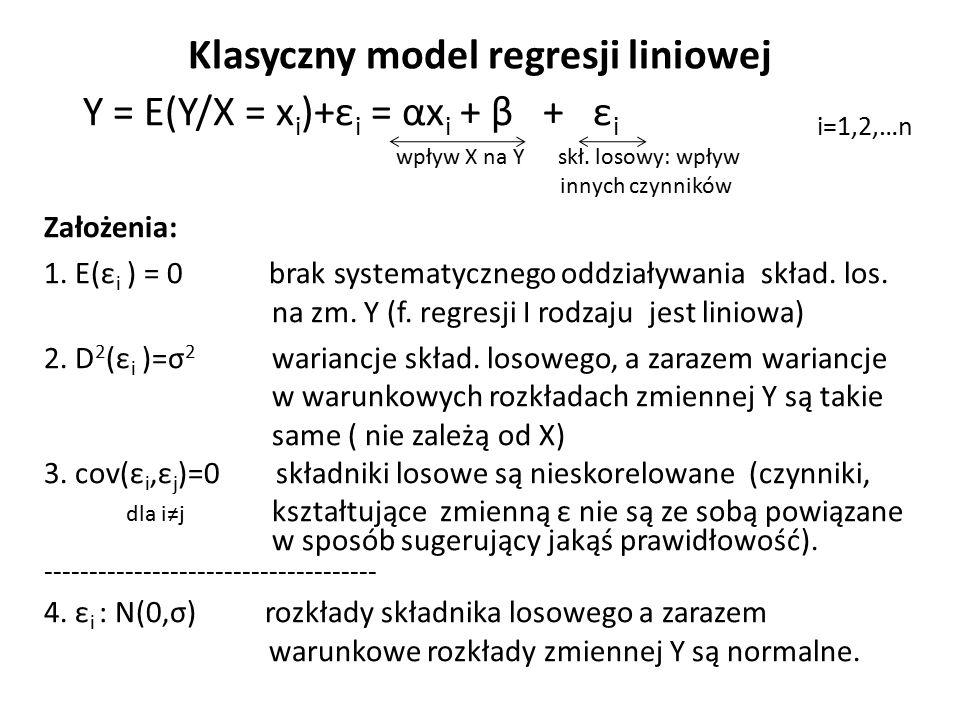 Klasyczny model regresji liniowej Y = E(Y/X = x i )+ε i = αx i + β + ε i i=1,2,…n wpływ X na Y skł. losowy: wpływ innych czynników Założenia: 1. E(ε i