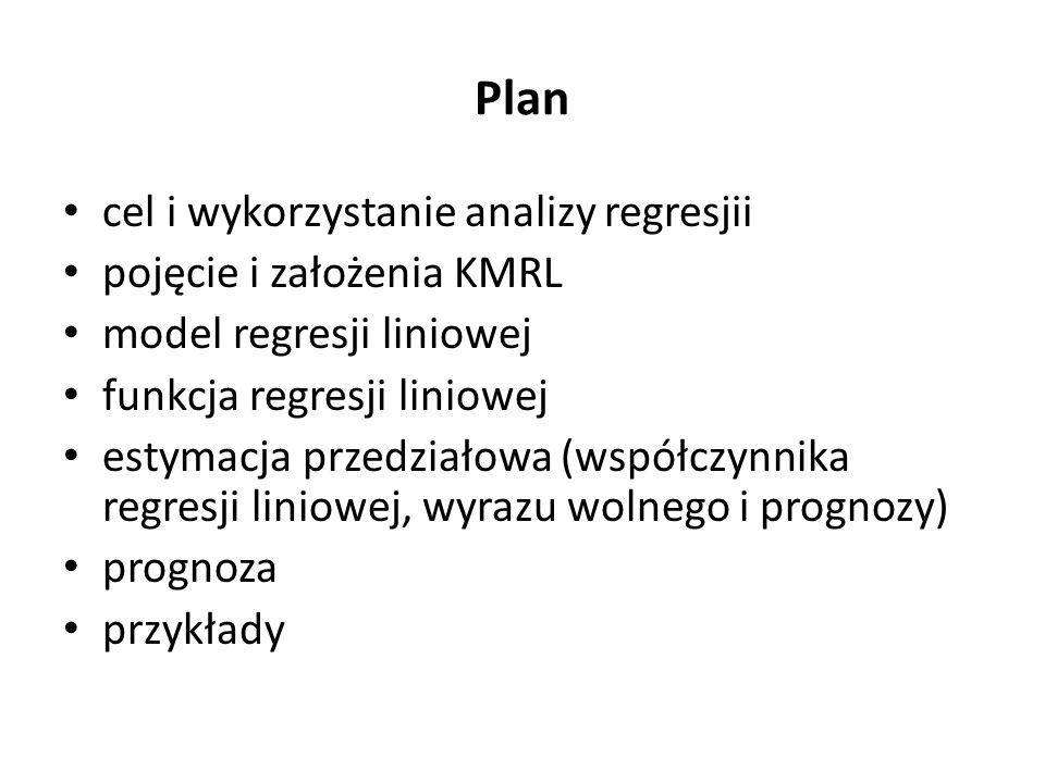 Plan cel i wykorzystanie analizy regresjii pojęcie i założenia KMRL model regresji liniowej funkcja regresji liniowej estymacja przedziałowa (współczynnika regresji liniowej, wyrazu wolnego i prognozy) prognoza przykłady