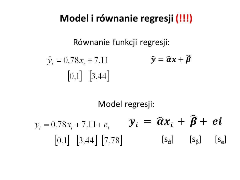 Model i równanie regresji (!!!) Równanie funkcji regresji: Model regresji: