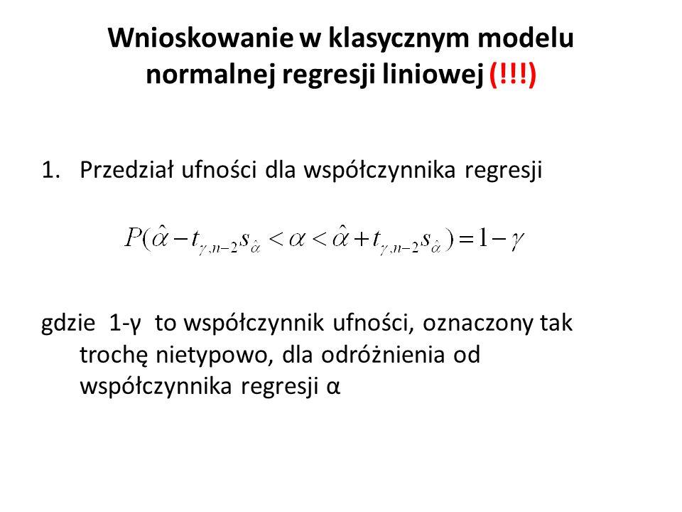 Wnioskowanie w klasycznym modelu normalnej regresji liniowej (!!!) 1.Przedział ufności dla współczynnika regresji gdzie 1-γ to współczynnik ufności, oznaczony tak trochę nietypowo, dla odróżnienia od współczynnika regresji α