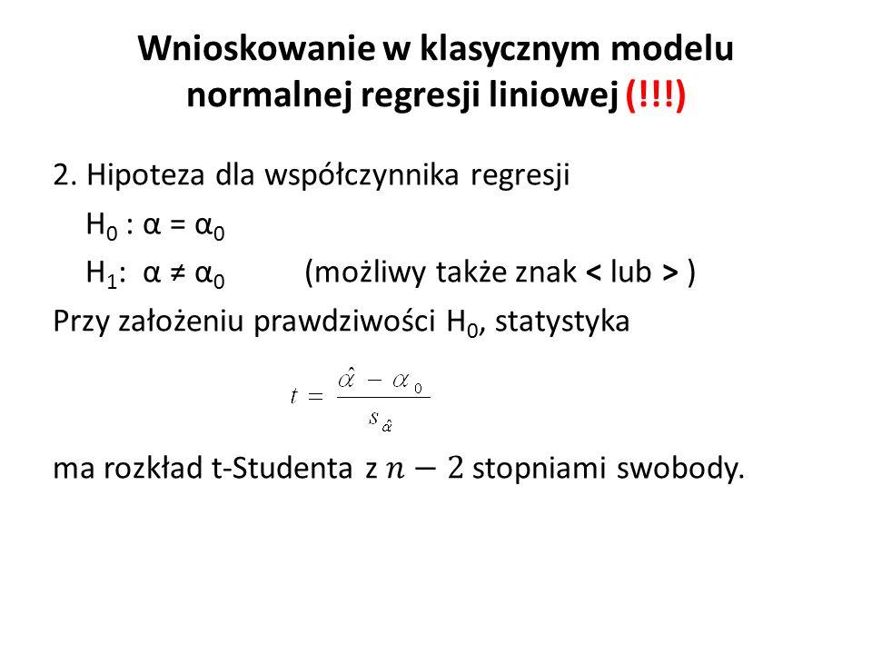Wnioskowanie w klasycznym modelu normalnej regresji liniowej (!!!)