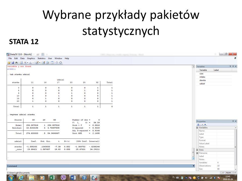 Wybrane przykłady pakietów statystycznych STATA 12