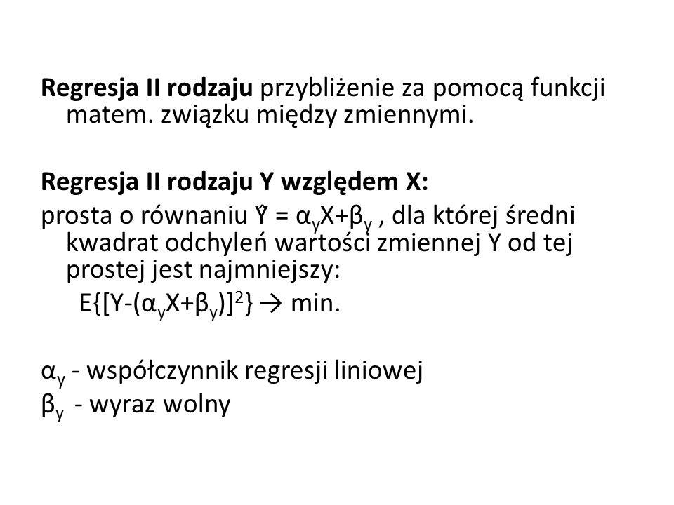 Regresja II rodzaju przybliżenie za pomocą funkcji matem.