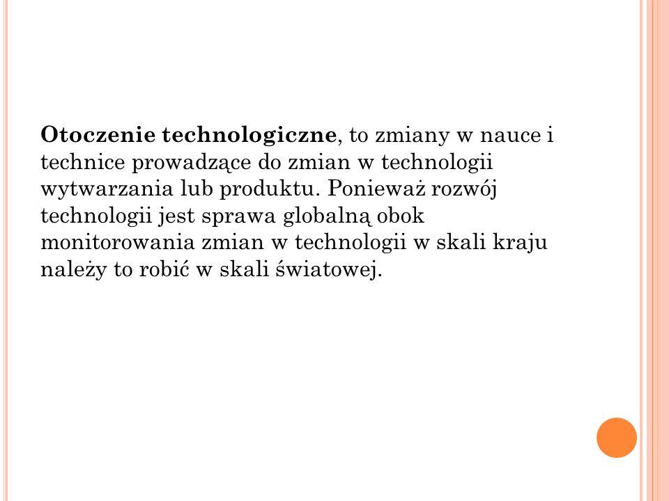 Otoczenie technologiczne, to zmiany w nauce i technice prowadzące do zmian w technologii wytwarzania lub produktu.