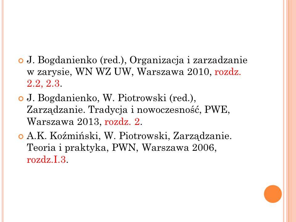 J. Bogdanienko (red.), Organizacja i zarzadzanie w zarysie, WN WZ UW, Warszawa 2010, rozdz.