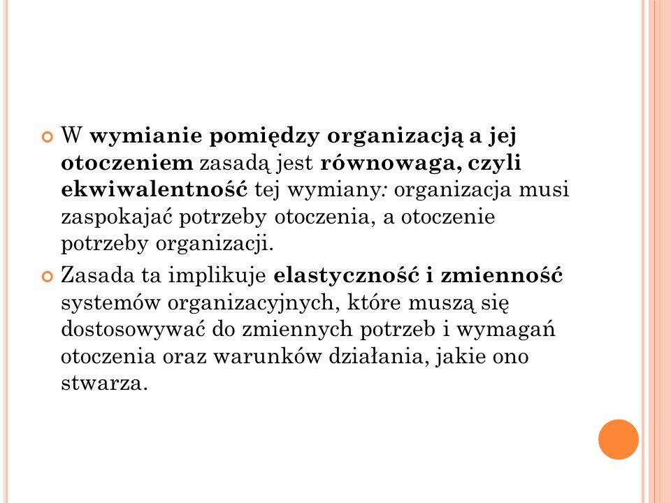 W wymianie pomiędzy organizacją a jej otoczeniem zasadą jest równowaga, czyli ekwiwalentność tej wymiany : organizacja musi zaspokajać potrzeby otoczenia, a otoczenie potrzeby organizacji.