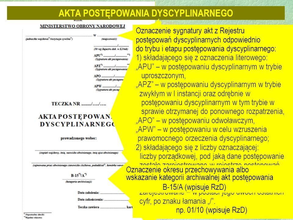 AKTA POSTĘPOWANIA DYSCYPLINARNEGO Oznaczenie jednostki wojskowej i miejscowości Oznaczenie wg Rejestru dokumentów w kancelarii jawnej, np.