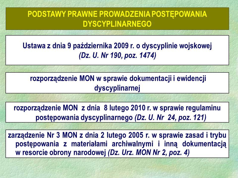 PODSTAWY PRAWNE PROWADZENIA POSTĘPOWANIA DYSCYPLINARNEGO rozporządzenie MON w sprawie dokumentacji i ewidencji dyscyplinarnej Ustawa z dnia 9 października 2009 r.