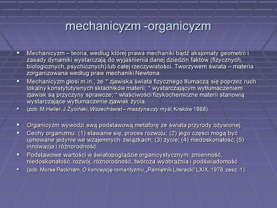 mechanicyzm -organicyzm  Mechanicyzm – teoria, według której prawa mechaniki bądź aksjomaty geometrii i zasady dynamiki wystarczają do wyjaśnienia da