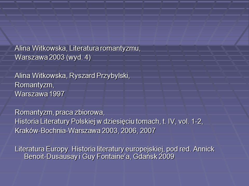 Alina Witkowska, Literatura romantyzmu, Warszawa 2003 (wyd. 4) Alina Witkowska, Ryszard Przybylski, Romantyzm, Warszawa 1997 Romantyzm, praca zbiorowa