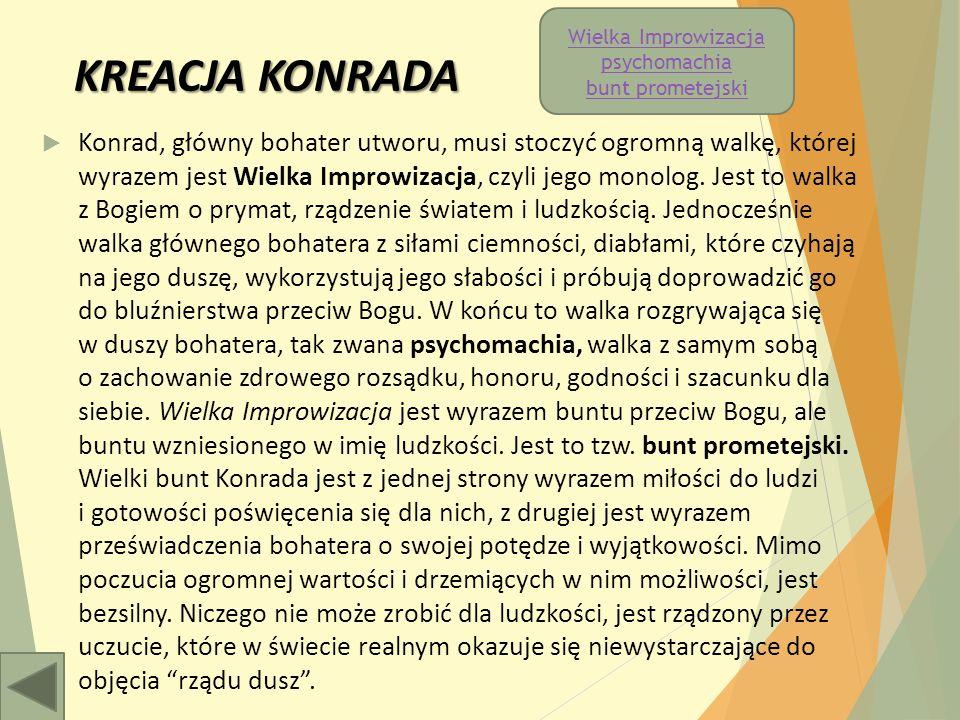 KREACJA KONRADA  Konrad, główny bohater utworu, musi stoczyć ogromną walkę, której wyrazem jest Wielka Improwizacja, czyli jego monolog.