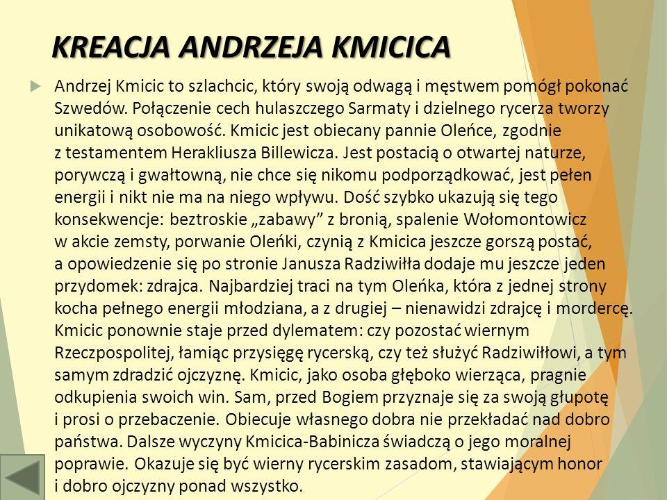 KREACJA ANDRZEJA KMICICA  Andrzej Kmicic to szlachcic, który swoją odwagą i męstwem pomógł pokonać Szwedów.