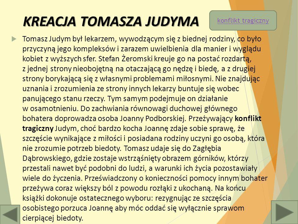KREACJA TOMASZA JUDYMA  Tomasz Judym był lekarzem, wywodzącym się z biednej rodziny, co było przyczyną jego kompleksów i zarazem uwielbienia dla manier i wyglądu kobiet z wyższych sfer.