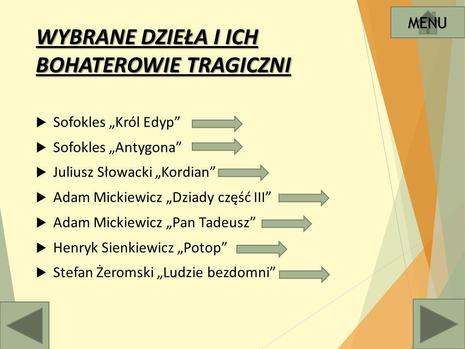 """Sofokles """"Król Edyp  Antoni Brodowski, Edyp i Antygona MENU ok. 427 rok p.n.e"""