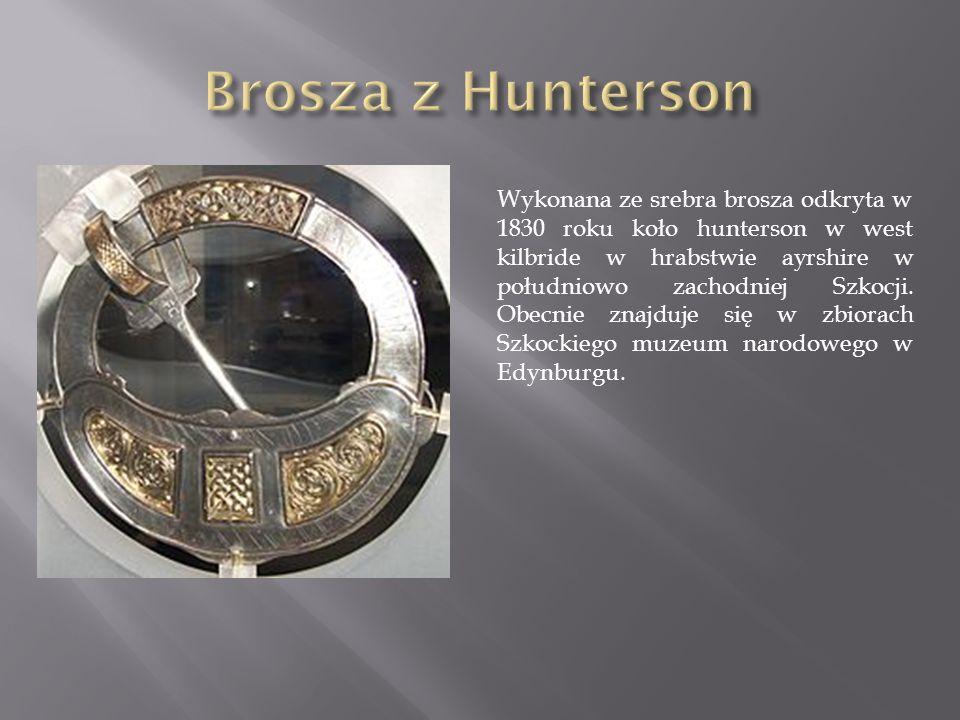 Wykonana ze srebra brosza odkryta w 1830 roku koło hunterson w west kilbride w hrabstwie ayrshire w południowo zachodniej Szkocji.