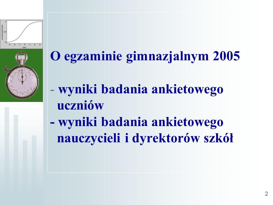 2 O egzaminie gimnazjalnym 2005 - wyniki badania ankietowego uczniów - wyniki badania ankietowego nauczycieli i dyrektorów szkół