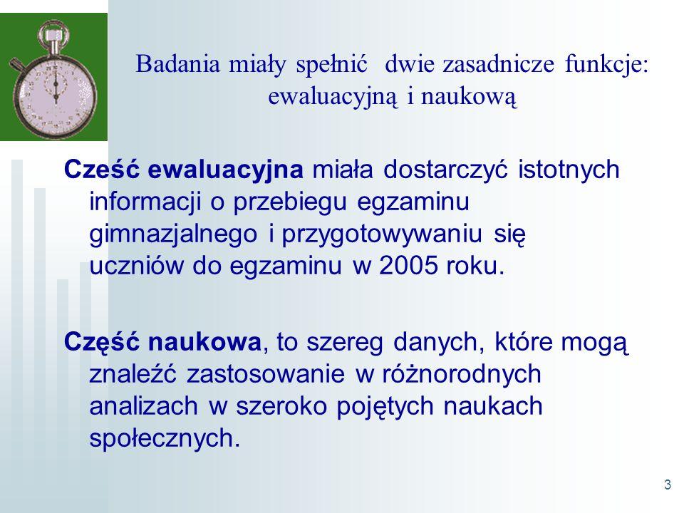 3 Badania miały spełnić dwie zasadnicze funkcje: ewaluacyjną i naukową Cześć ewaluacyjna miała dostarczyć istotnych informacji o przebiegu egzaminu gimnazjalnego i przygotowywaniu się uczniów do egzaminu w 2005 roku.