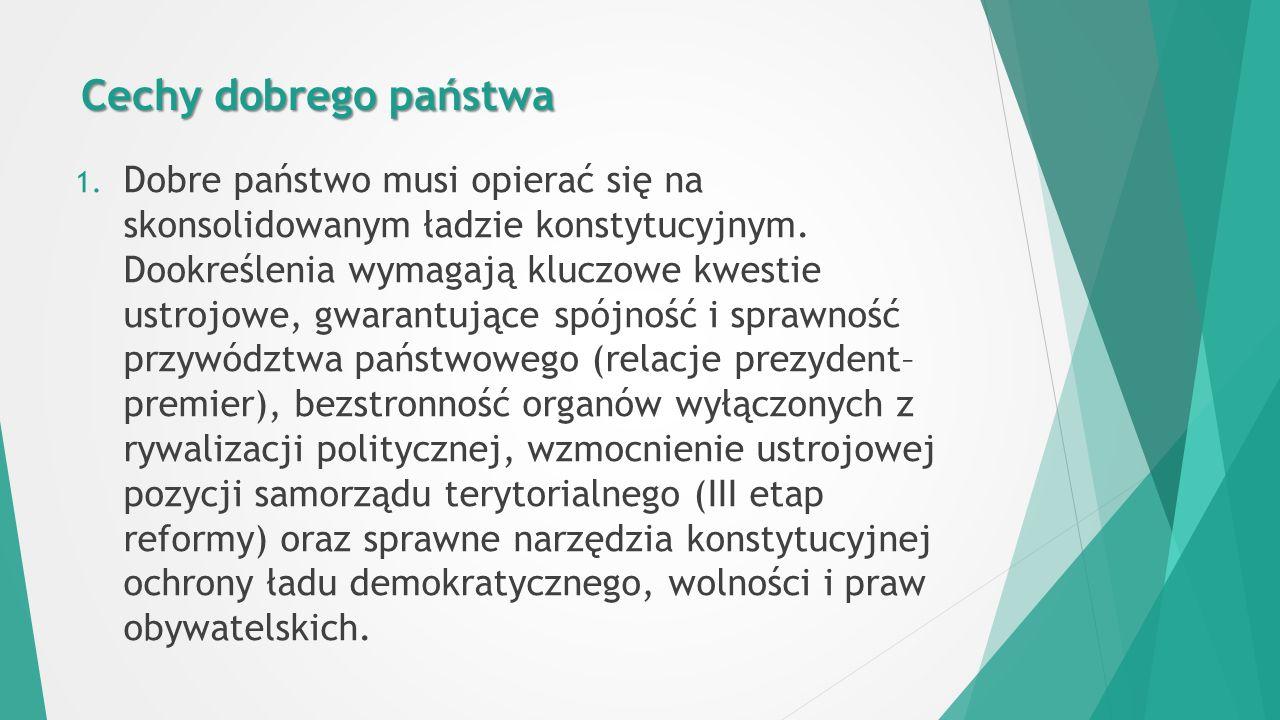 Cechy dobrego państwa 1. Dobre państwo musi opierać się na skonsolidowanym ładzie konstytucyjnym.