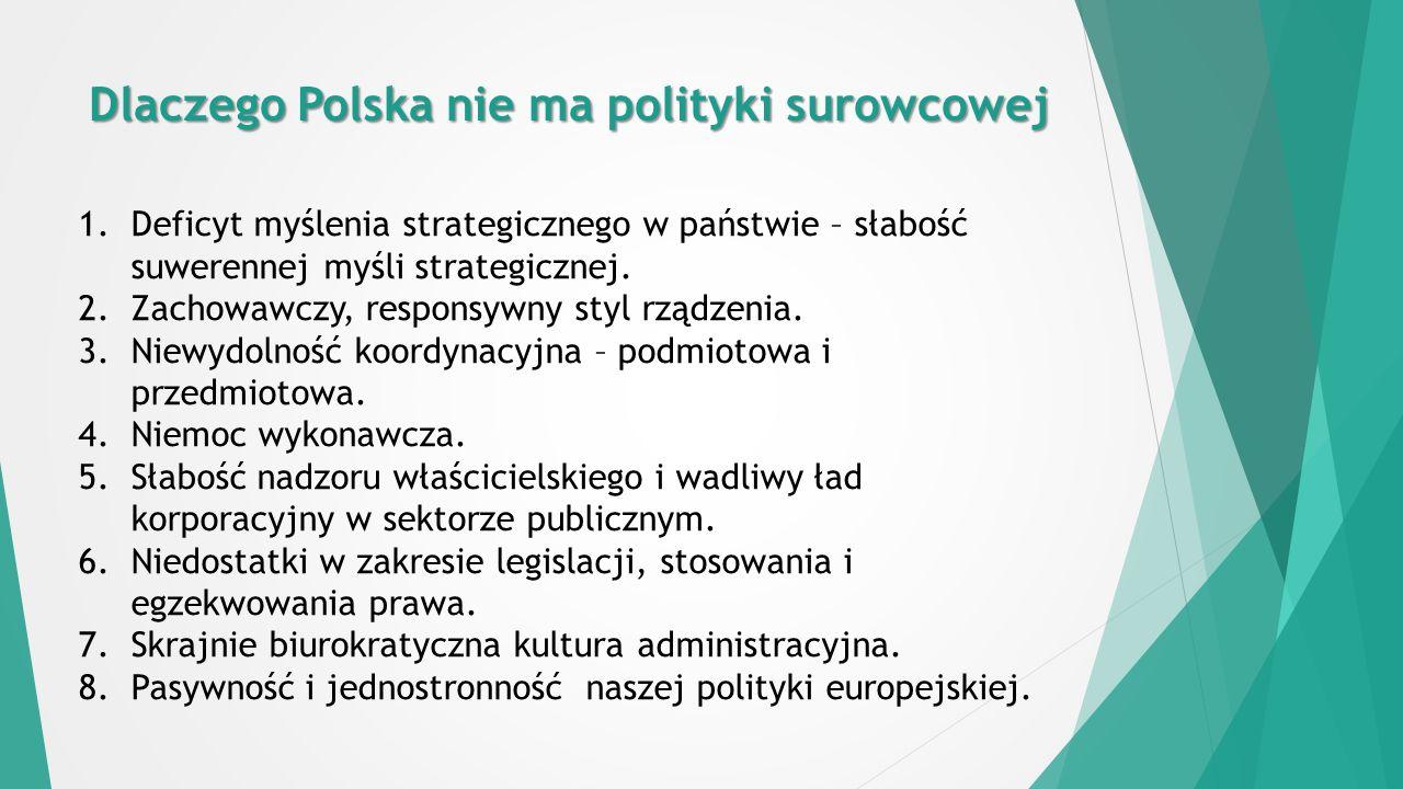 Dlaczego Polska nie ma polityki surowcowej 1.Deficyt myślenia strategicznego w państwie – słabość suwerennej myśli strategicznej.