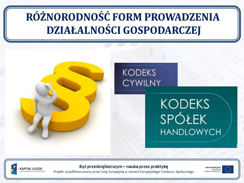 Być przedsiębiorczym – nauka przez praktykę Projekt współfinansowany przez Unię Europejską w ramach Europejskiego Funduszu Społecznego RÓŻNORODNOŚĆ FORM PROWADZENIA DZIAŁALNOŚCI GOSPODARCZEJ