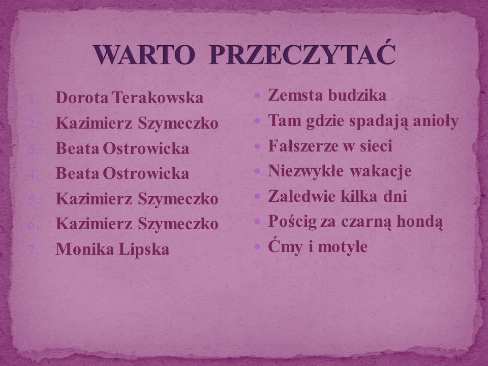1. Dorota Terakowska 2. Kazimierz Szymeczko 3. Beata Ostrowicka 4. Beata Ostrowicka 5. Kazimierz Szymeczko 6. Kazimierz Szymeczko 7. Monika Lipska Zem