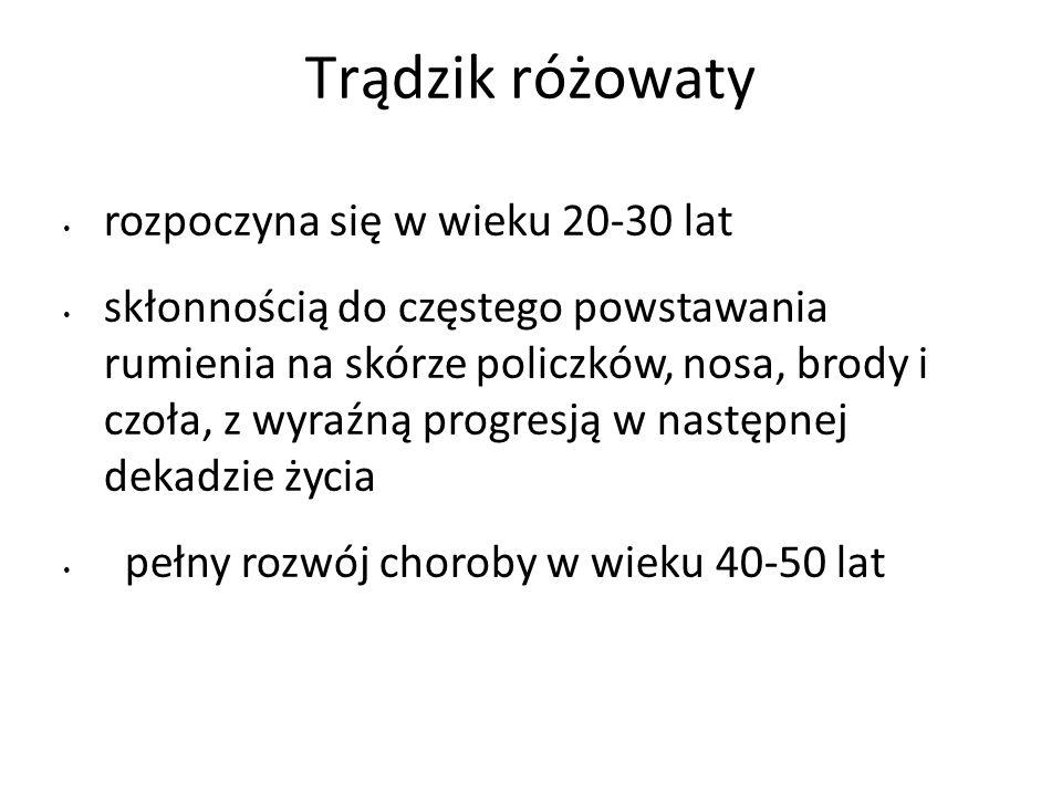 Leki miejscowe zatwierdzone przez FDA w terapii trądziku różowatego Metronidazol - dostępny w Polsce, jako krem (0,75 i 1%), żel (0,75 i 1%) i emulsja (0,75%) Kwas azelainowy (AZC) -15% żel Sulfacetamid sodu 10% i siarka 5% - na świecie dostępne w postaci zarówno żeli, kremów, jak i lotionów stosowanych miejscowo terapeutycznie, ale także profilaktycznie (Rozac® krem)