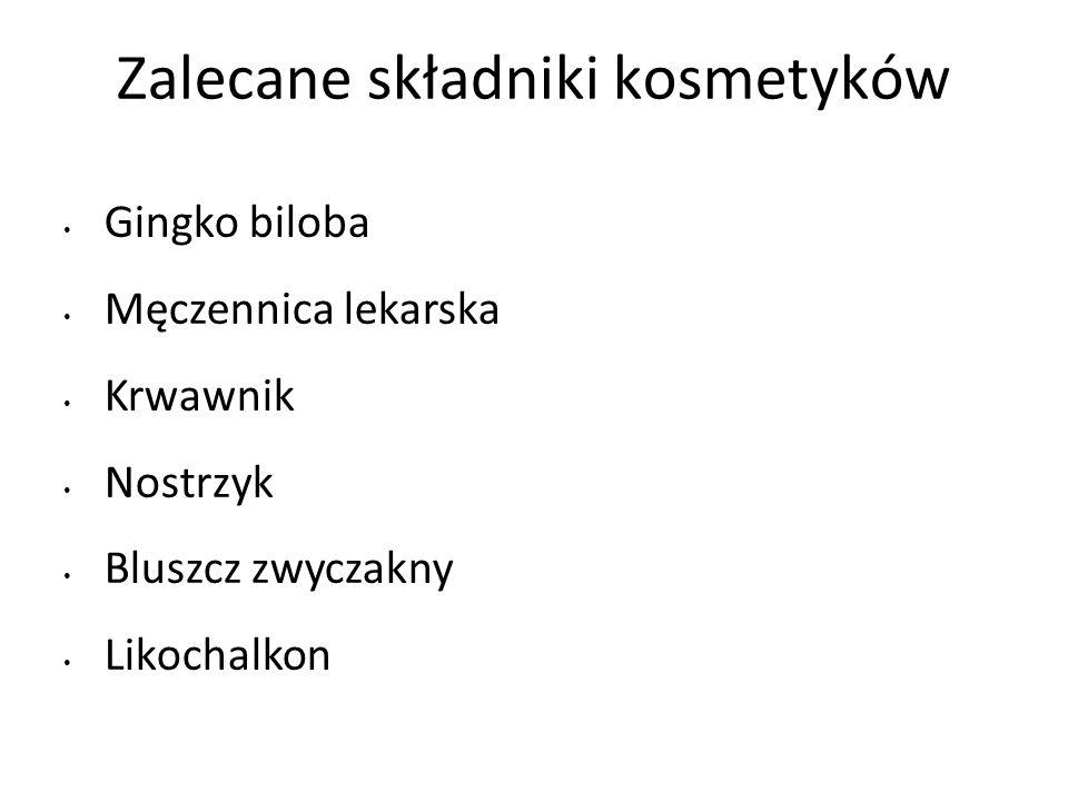 Zalecane składniki kosmetyków Gingko biloba Męczennica lekarska Krwawnik Nostrzyk Bluszcz zwyczakny Likochalkon