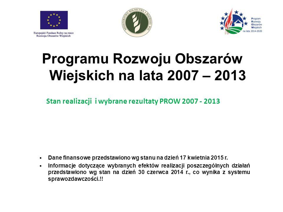 Programu Rozwoju Obszarów Wiejskich na lata 2007 – 2013  Dane finansowe przedstawiono wg stanu na dzień 17 kwietnia 2015 r.