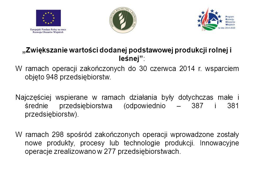"""""""Zwiększanie wartości dodanej podstawowej produkcji rolnej i leśnej : W ramach operacji zakończonych do 30 czerwca 2014 r."""
