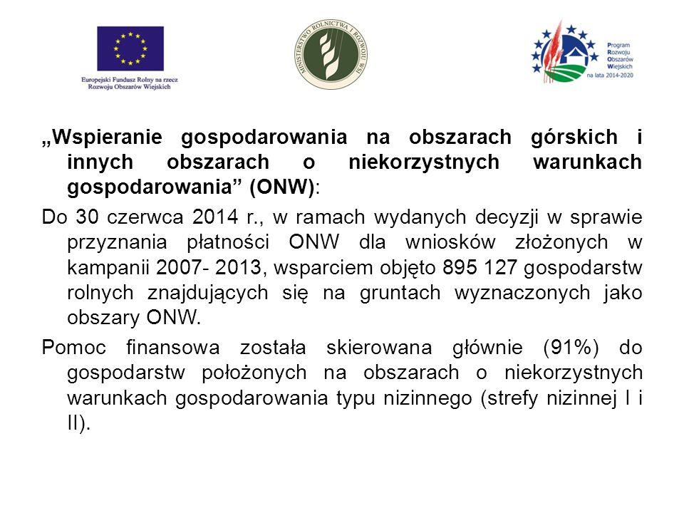 """""""Wspieranie gospodarowania na obszarach górskich i innych obszarach o niekorzystnych warunkach gospodarowania (ONW): Do 30 czerwca 2014 r., w ramach wydanych decyzji w sprawie przyznania płatności ONW dla wniosków złożonych w kampanii 2007- 2013, wsparciem objęto 895 127 gospodarstw rolnych znajdujących się na gruntach wyznaczonych jako obszary ONW."""
