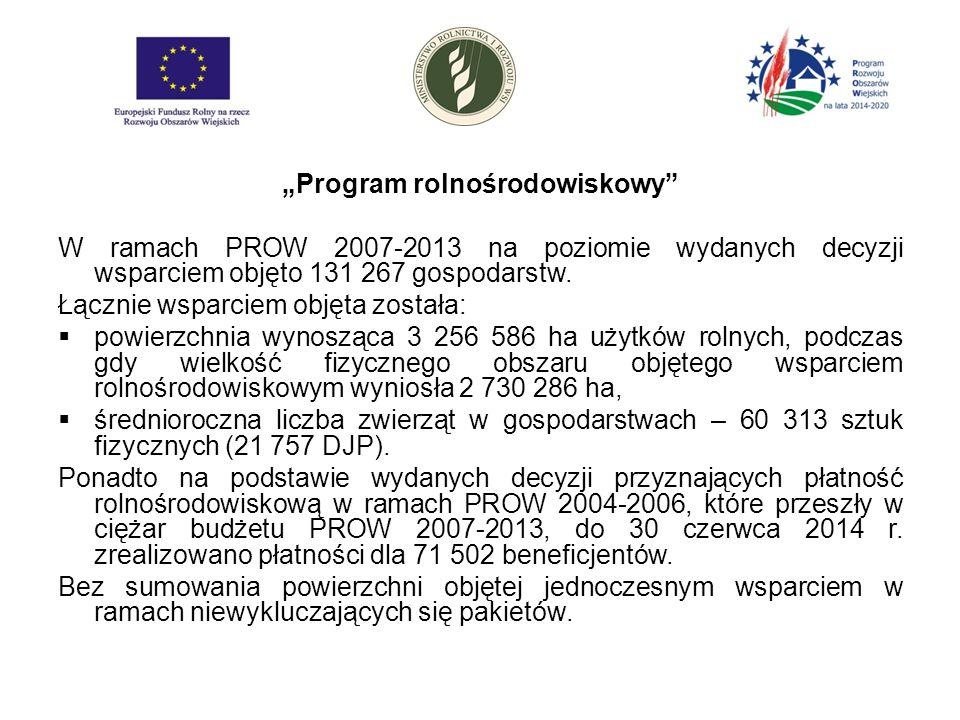 """""""Program rolnośrodowiskowy W ramach PROW 2007-2013 na poziomie wydanych decyzji wsparciem objęto 131 267 gospodarstw."""