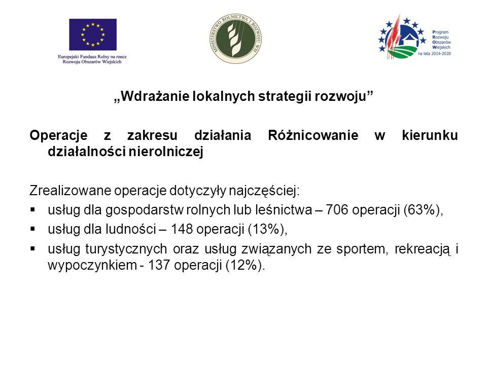 """""""Wdrażanie lokalnych strategii rozwoju Operacje z zakresu działania Różnicowanie w kierunku działalności nierolniczej Zrealizowane operacje dotyczyły najczęściej:  usług dla gospodarstw rolnych lub leśnictwa – 706 operacji (63%),  usług dla ludności – 148 operacji (13%),  usług turystycznych oraz usług związanych ze sportem, rekreacją i wypoczynkiem - 137 operacji (12%)."""