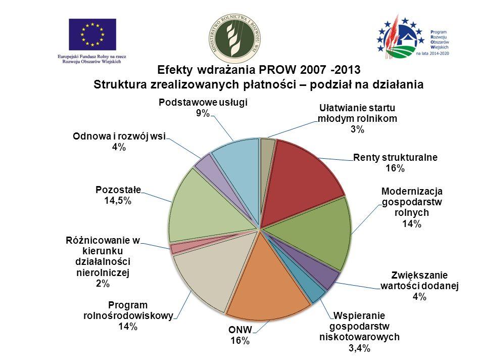 Efekty wdrażania PROW 2007 -2013 Struktura zrealizowanych płatności – podział na działania