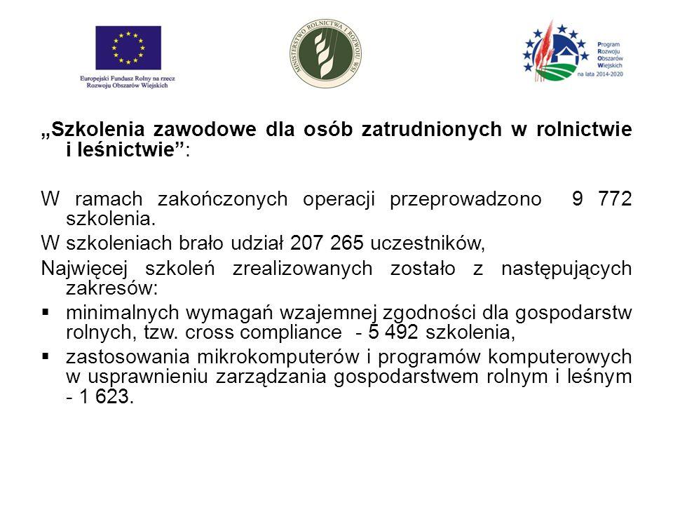 """""""Szkolenia zawodowe dla osób zatrudnionych w rolnictwie i leśnictwie : W ramach zakończonych operacji przeprowadzono 9 772 szkolenia."""