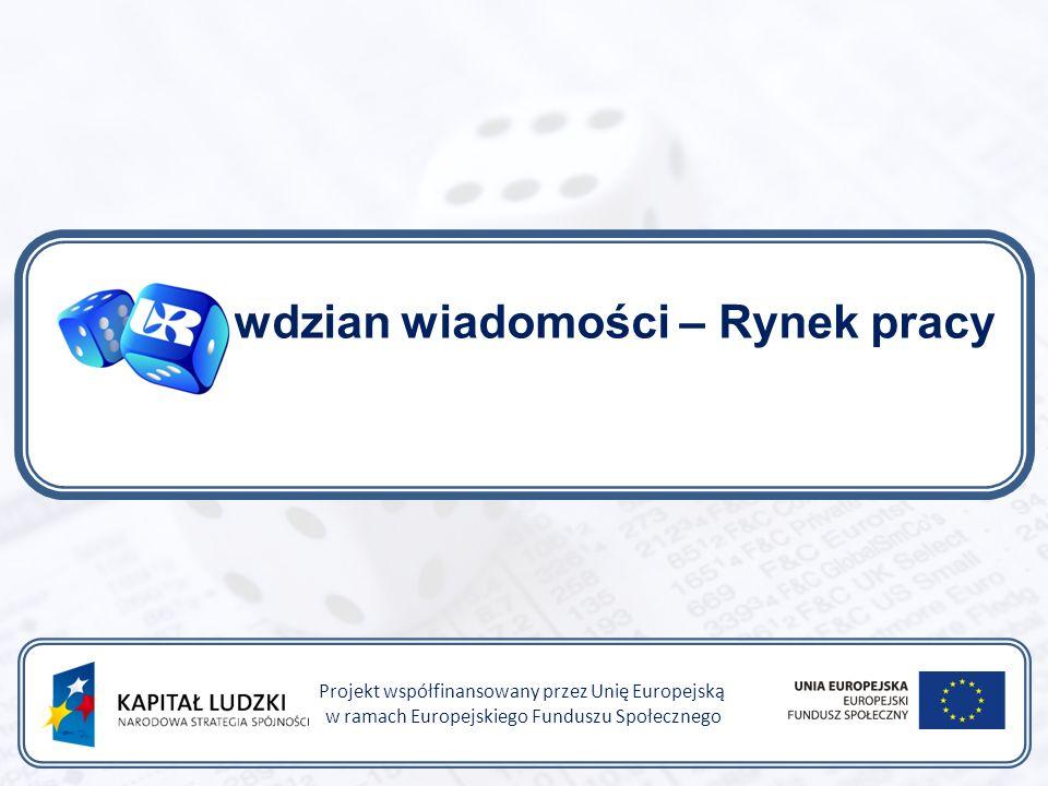 Sprawdzian wiadomości – Rynek pracy Projekt współfinansowany przez Unię Europejską w ramach Europejskiego Funduszu Społecznego