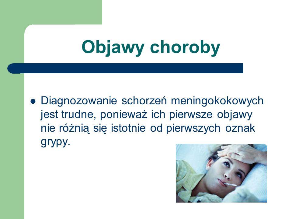Objawy choroby Diagnozowanie schorzeń meningokokowych jest trudne, ponieważ ich pierwsze objawy nie różnią się istotnie od pierwszych oznak grypy.