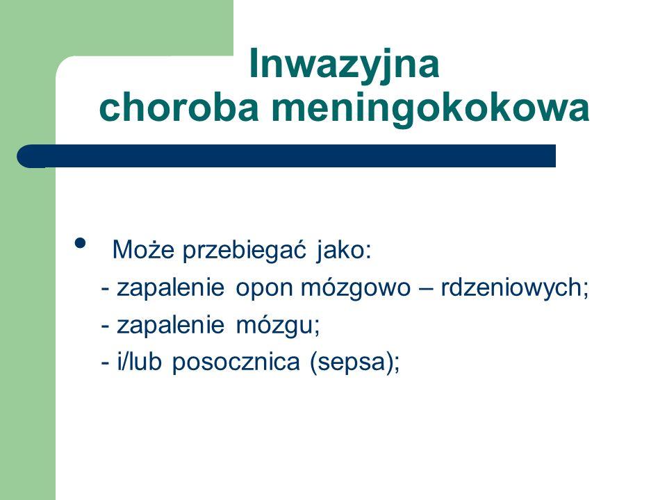 Inwazyjna choroba meningokokowa Może przebiegać jako: - zapalenie opon mózgowo – rdzeniowych; - zapalenie mózgu; - i/lub posocznica (sepsa);