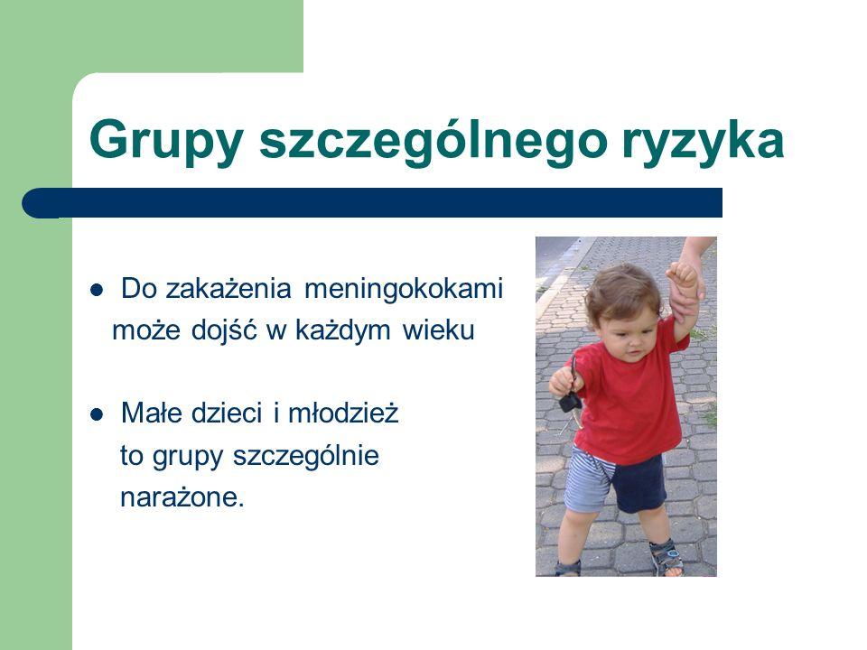 Grupy szczególnego ryzyka Do zakażenia meningokokami może dojść w każdym wieku Małe dzieci i młodzież to grupy szczególnie narażone.