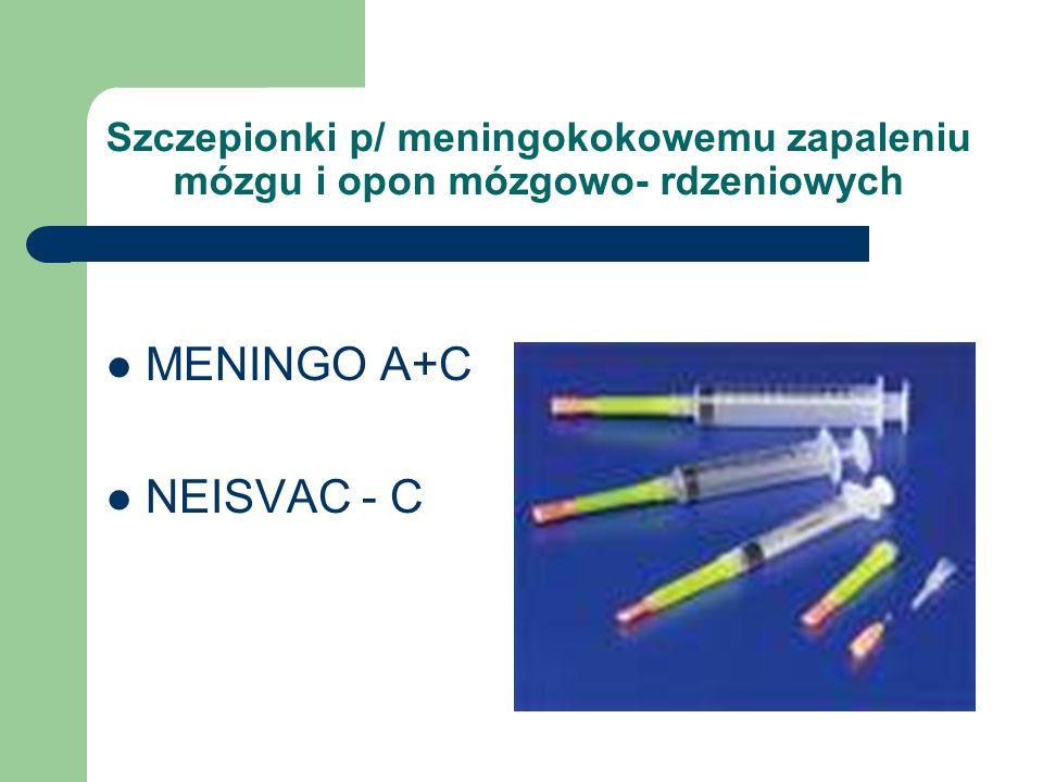 Szczepionki p/ meningokokowemu zapaleniu mózgu i opon mózgowo- rdzeniowych MENINGO A+C NEISVAC - C