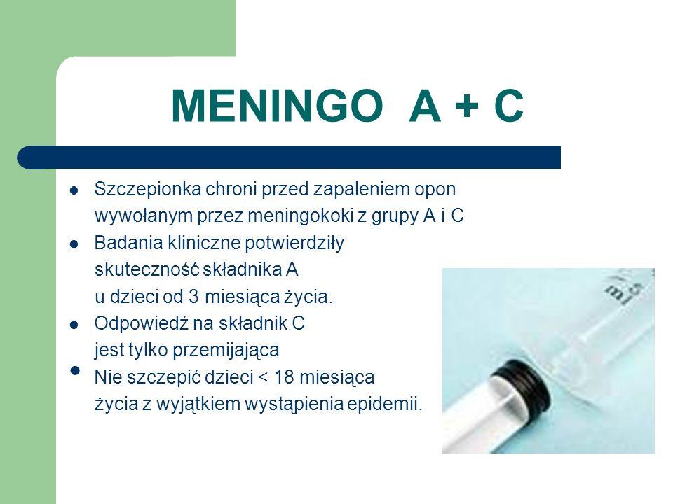 MENINGO A + C Szczepionka chroni przed zapaleniem opon wywołanym przez meningokoki z grupy A i C Badania kliniczne potwierdziły skuteczność składnika A u dzieci od 3 miesiąca życia.