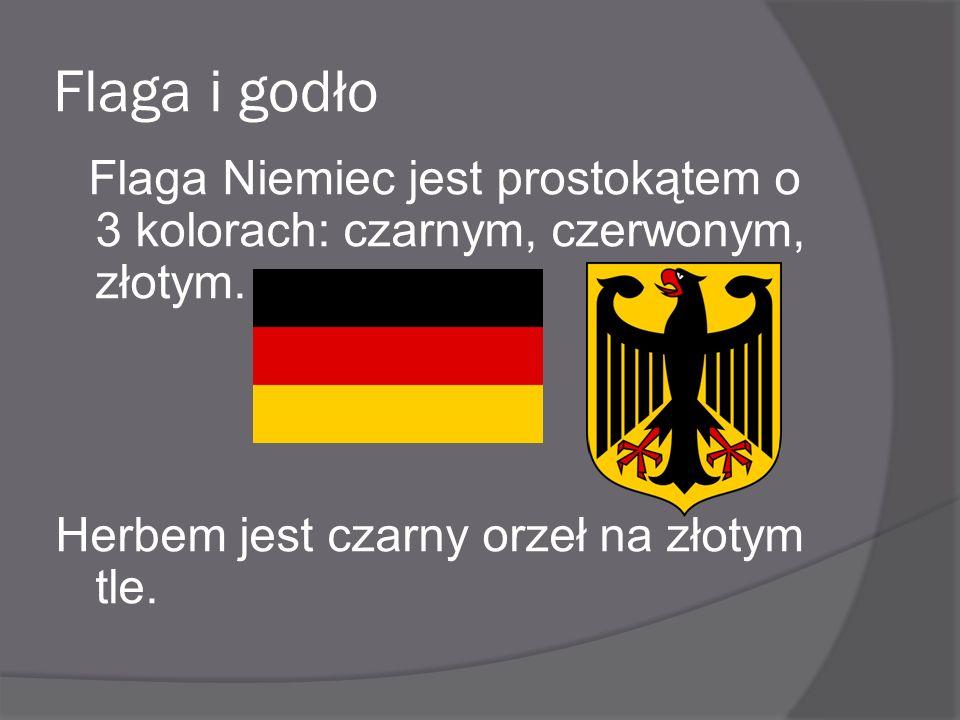 Flaga i godło Flaga Niemiec jest prostokątem o 3 kolorach: czarnym, czerwonym, złotym. Herbem jest czarny orzeł na złotym tle.