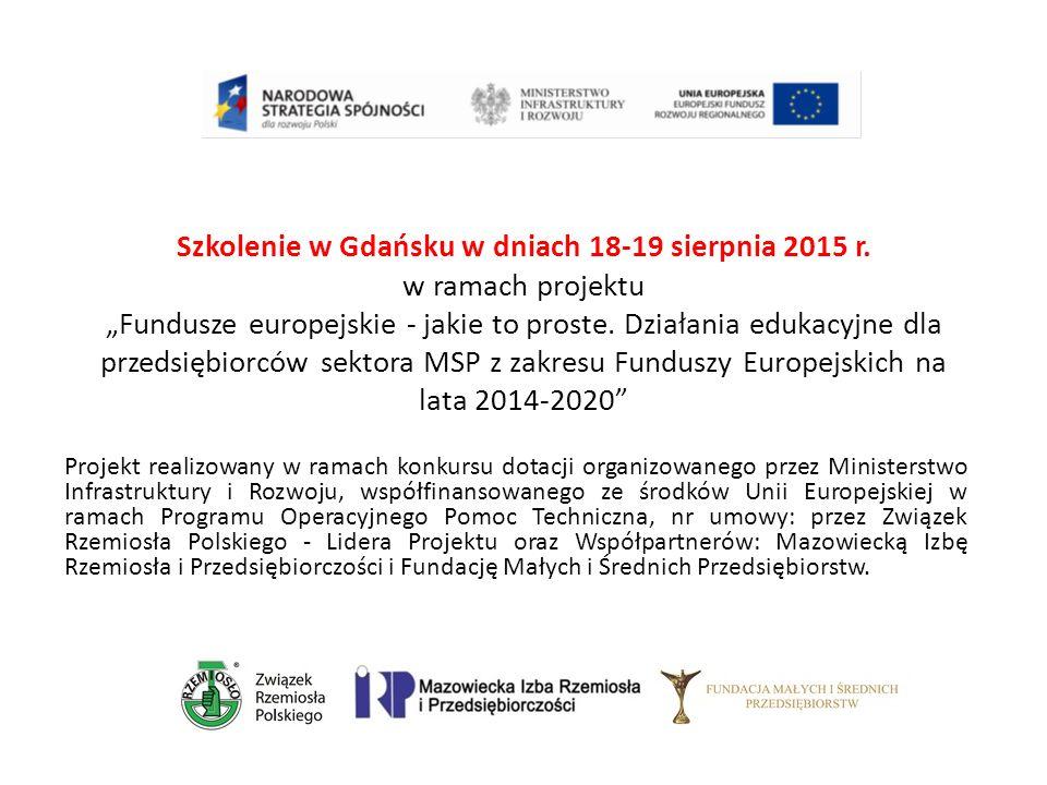 Szkolenie w Gdańsku w dniach 18-19 sierpnia 2015 r.