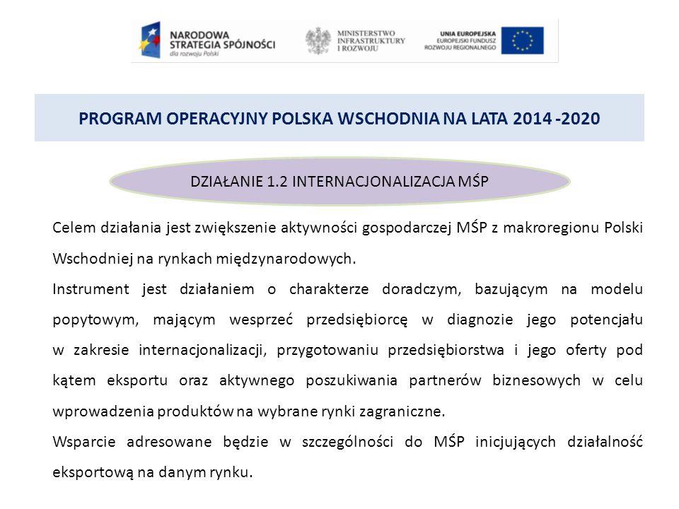 PROGRAM OPERACYJNY POLSKA WSCHODNIA NA LATA 2014 -2020 DZIAŁANIE 1.2 INTERNACJONALIZACJA MŚP Celem działania jest zwiększenie aktywności gospodarczej MŚP z makroregionu Polski Wschodniej na rynkach międzynarodowych.