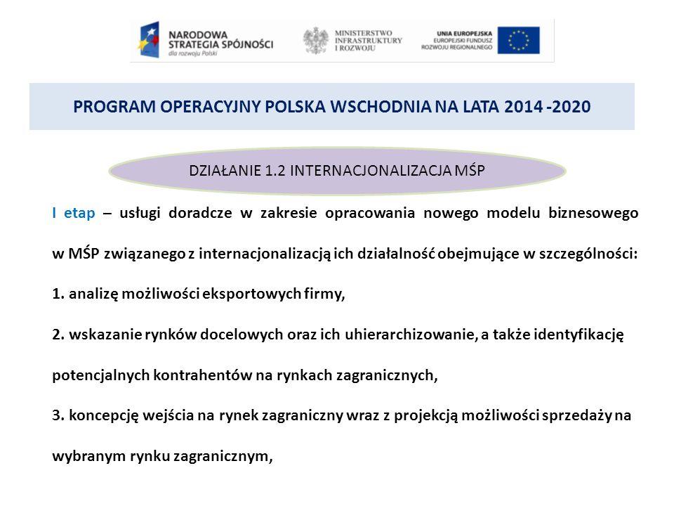 PROGRAM OPERACYJNY POLSKA WSCHODNIA NA LATA 2014 -2020 DZIAŁANIE 1.2 INTERNACJONALIZACJA MŚP I etap – usługi doradcze w zakresie opracowania nowego modelu biznesowego w MŚP związanego z internacjonalizacją ich działalność obejmujące w szczególności: 1.
