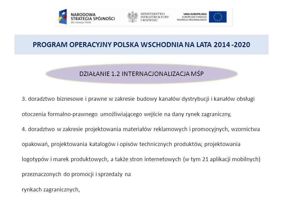 PROGRAM OPERACYJNY POLSKA WSCHODNIA NA LATA 2014 -2020 DZIAŁANIE 1.2 INTERNACJONALIZACJA MŚP 3.