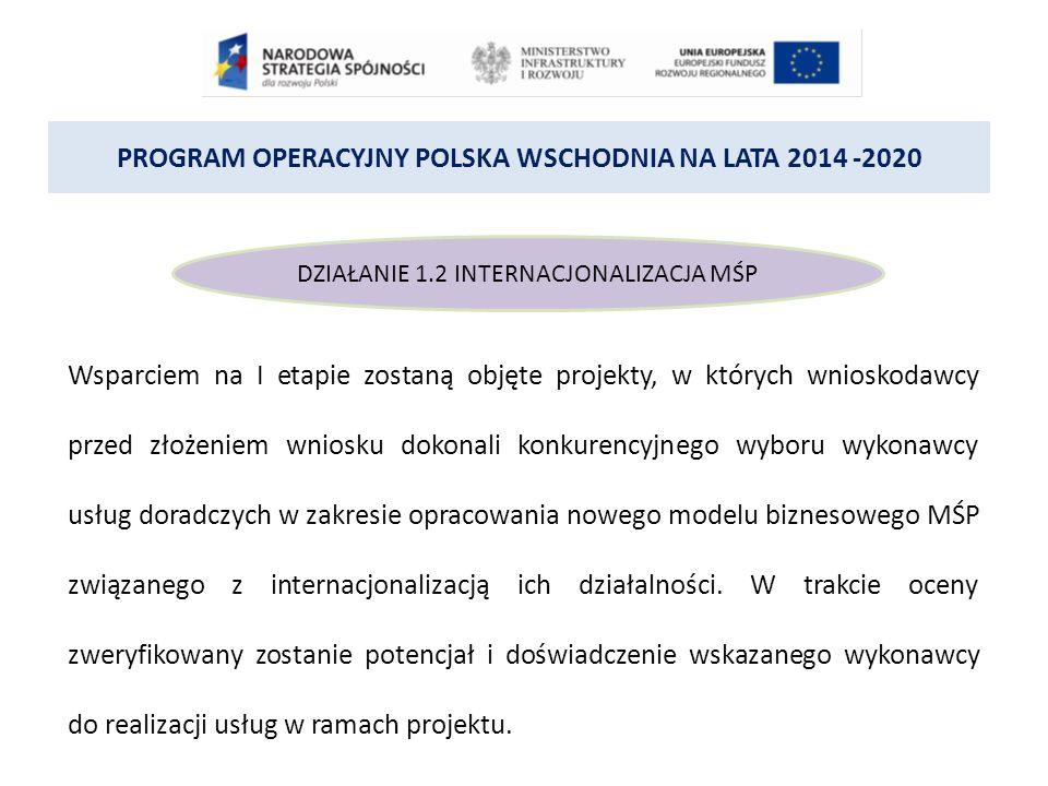 PROGRAM OPERACYJNY POLSKA WSCHODNIA NA LATA 2014 -2020 DZIAŁANIE 1.2 INTERNACJONALIZACJA MŚP Wsparciem na I etapie zostaną objęte projekty, w których wnioskodawcy przed złożeniem wniosku dokonali konkurencyjnego wyboru wykonawcy usług doradczych w zakresie opracowania nowego modelu biznesowego MŚP związanego z internacjonalizacją ich działalności.