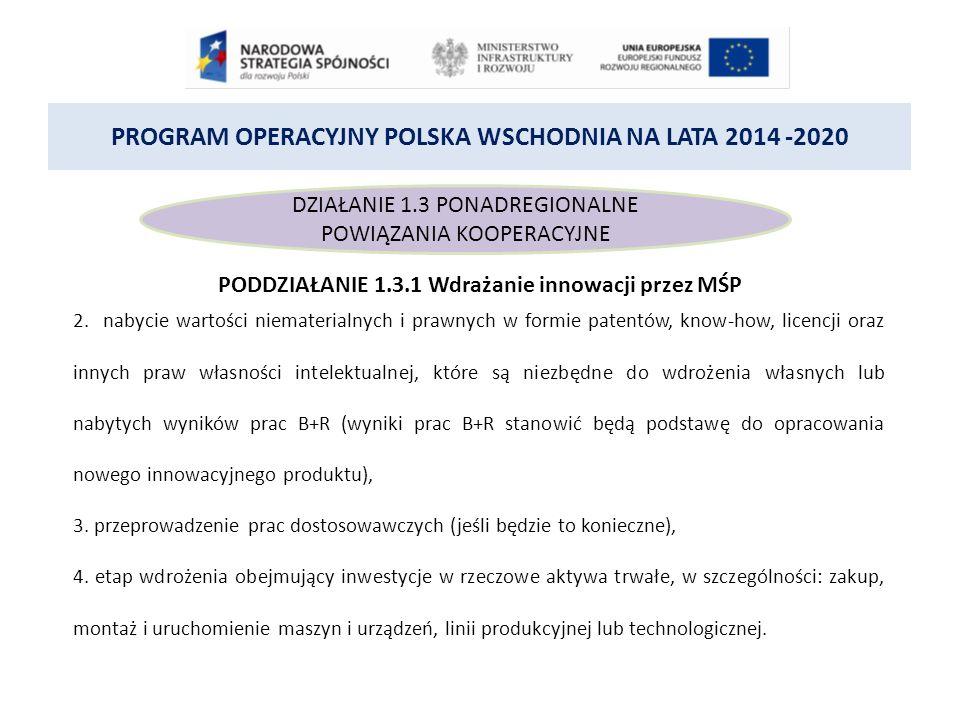 PROGRAM OPERACYJNY POLSKA WSCHODNIA NA LATA 2014 -2020 DZIAŁANIE 1.3 PONADREGIONALNE POWIĄZANIA KOOPERACYJNE PODDZIAŁANIE 1.3.1 Wdrażanie innowacji przez MŚP 2.