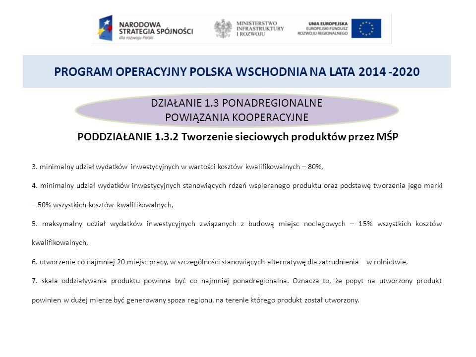 PROGRAM OPERACYJNY POLSKA WSCHODNIA NA LATA 2014 -2020 DZIAŁANIE 1.3 PONADREGIONALNE POWIĄZANIA KOOPERACYJNE PODDZIAŁANIE 1.3.2 Tworzenie sieciowych produktów przez MŚP 3.